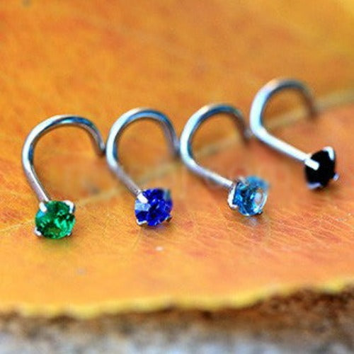 316L Surgical Steel Screw Nose Ring with Prong Set Gem - Fashion Hut Jewelry