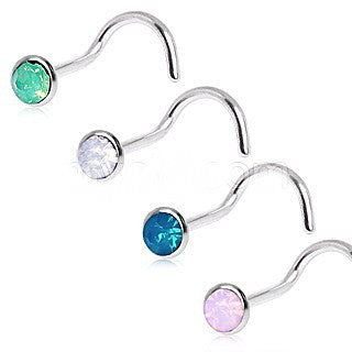 316L Surgical Steel Opalite Screw Nose Ring - Fashion Hut Jewelry