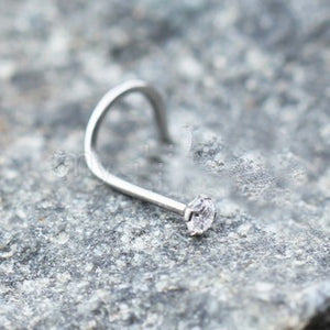 316L Stainless Steel Prong Set CZ Screw Nose Ring - Fashion Hut Jewelry