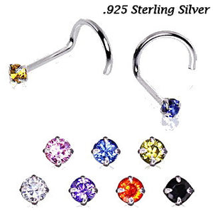 925 Sterling Silver Prong Set Round CZ Nose Screw - Fashion Hut Jewelry