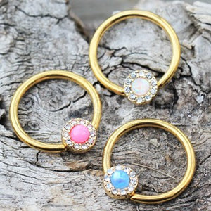 Gold Plated Jeweled Synthetic Opal Captive Bead Ring Nipple Jewelry - Fashion Hut Jewelry