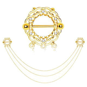 Gold Plated Triple Chain Floral Nipple Shields - Fashion Hut Jewelry