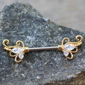 Gold Exotic Butterfly Nipple Bar - Fashion Hut Jewelry