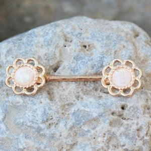Rose Gold Synthetic Opal Flower Nipple Bar - Fashion Hut Jewelry