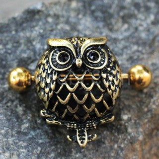 Antique Gold Plated Owl Dome Shape Nipple Shield - Fashion Hut Jewelry