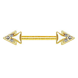 Gold Jeweled Double Triangle Nipple Bar - Fashion Hut Jewelry