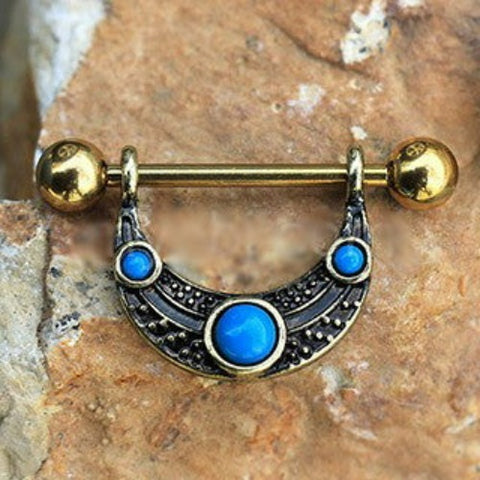 Gold Plated Turquoise Shield Nipple Ring - Fashion Hut Jewelry