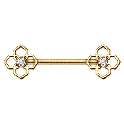 Gold Plated Pinwheel Flower Nipple Bar - Fashion Hut Jewelry