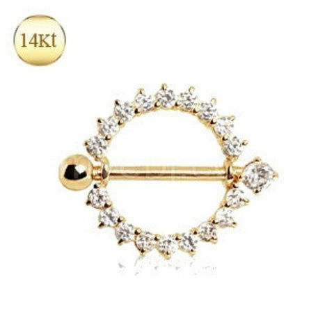 14Kt Yellow Gold Nipple Ring with Round CZ - Fashion Hut Jewelry
