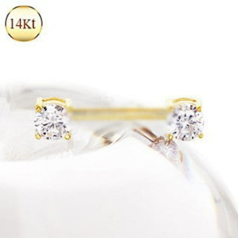 14Kt Yellow Gold Prong Set CZ Nipple Bar