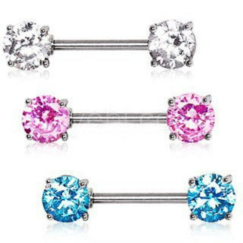 Prong Set Round CZ Nipple Bar Set - Fashion Hut Jewelry