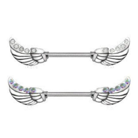 316L Surgical Steel Twinkling Angelic Wings Nipple Bar - Fashion Hut Jewelry