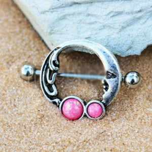 316L Stainless Steel Crescent Moon Nipple Ring with Pink Synthetic Opal - Fashion Hut Jewelry