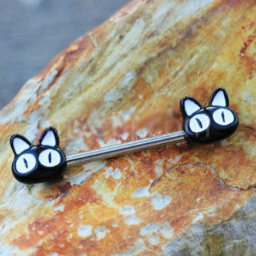 316L Stainless Steel Black Alley Cat Nipple Bar - Fashion Hut Jewelry