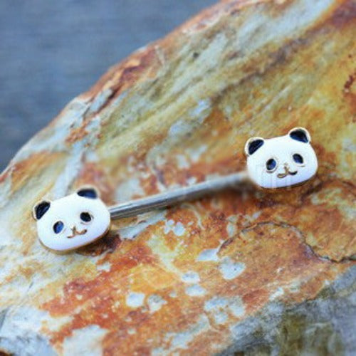 316L Stainless Steel Golden Panda Nipple Bar - Fashion Hut Jewelry