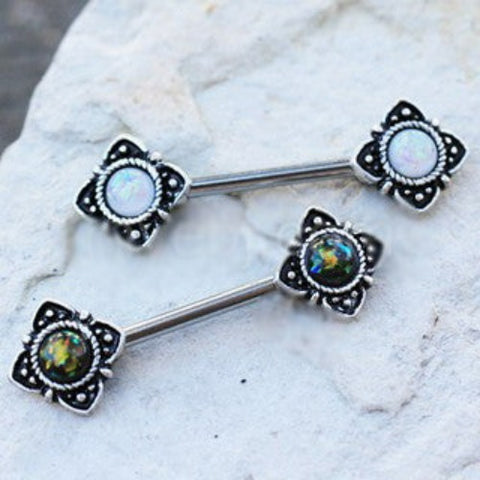 Mystical Flower Nipple Bar with Synthetic Opal - Fashion Hut Jewelry