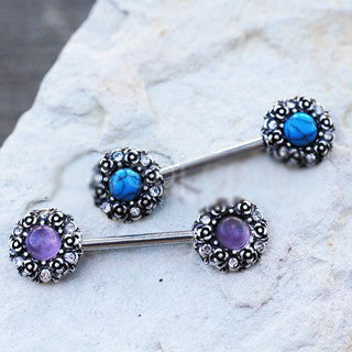 316L Stainless Steel Medieval Rose Nipple Bar Set with Stone Inlay - Fashion Hut Jewelry
