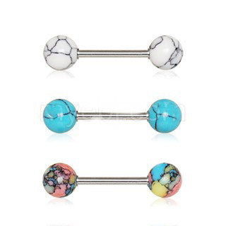 Nipple Bar Set with Synthetic Stones - Fashion Hut Jewelry