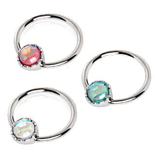 316L Stainless Steel Rainbow Rhinestone Captive Bead Ring Nipple Jewelry - Fashion Hut Jewelry