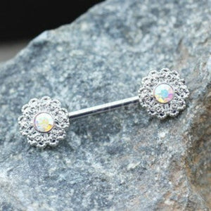 316L Stainless Steel Aurora Flower Cluster Nipple Bar - Fashion Hut Jewelry