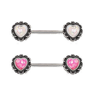 316L Stainless Steel Filigree Synthetic Opal Heart Nipple Bars - Fashion Hut Jewelry