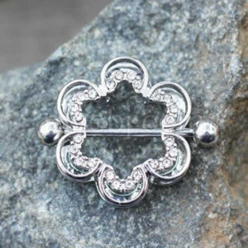 Clear CZ Flower Double Tier Nipple Ring - Fashion Hut Jewelry