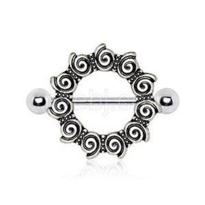 316L Stainless Steel Antique Tribal Multi-Spiral Nipple Shield - Fashion Hut Jewelry
