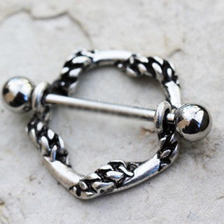 316L Stainless Steel Rope Wrapped Around Nipple Shield - Fashion Hut Jewelry