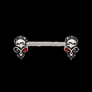 316L Stainless Steel Red Eye Alien Skull Nipple Bar - Fashion Hut Jewelry