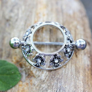 316L Stainless Steel Jeweled Flower Nipple Shield - Fashion Hut Jewelry
