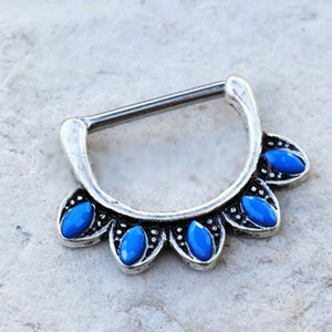 316L Stainless Steel Turquoise Tribal Nipple Clicker Ring - Fashion Hut Jewelry