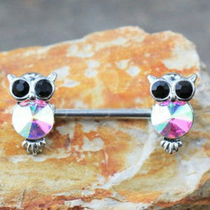 316L Stainless Steel Aurora Owl Nipple Bar - Fashion Hut Jewelry