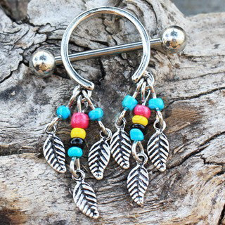 316L Surgical Steel Multi-Colored Beads Feather Dangle Nipple Shield - Fashion Hut Jewelry