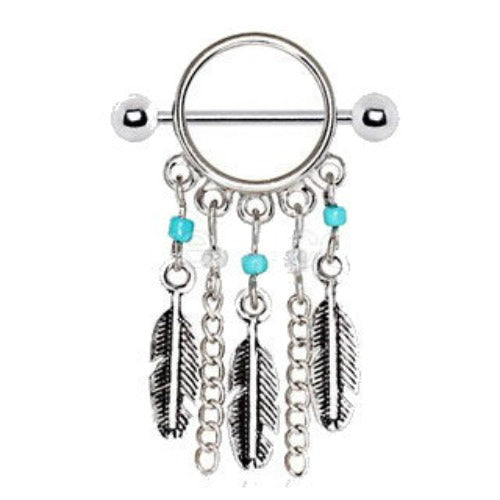 316L Surgical Steel Turquoise Beads Feather Dangle Nipple Shield - Fashion Hut Jewelry