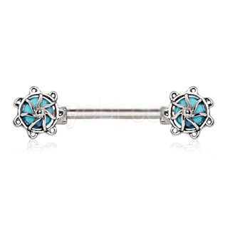 316L Surgical Steel Turquoise Stone Carousel Nipple Bar - Fashion Hut Jewelry