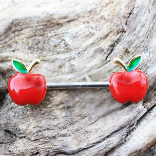 Gold Plated Red Apple Nipple Bar - Fashion Hut Jewelry