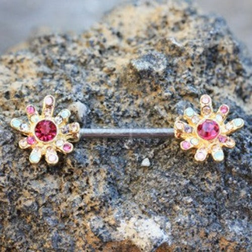 Gold Plated Rainbow CZ Flower Nipple Bar - Fashion Hut Jewelry