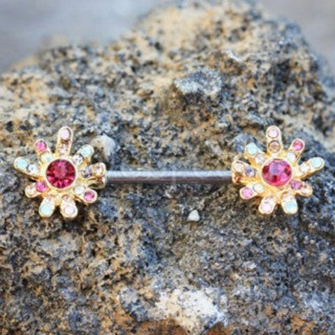 Gold Plated Rainbow CZ Flower Nipple Bar