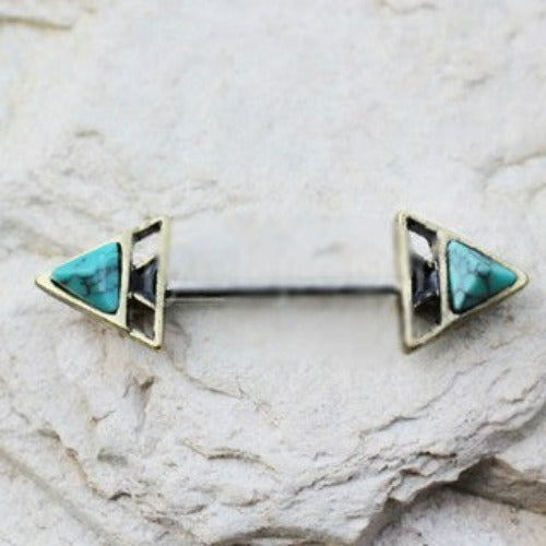 Gold Plated Turquoise Triangle Pyramid Nipple Bar - Fashion Hut Jewelry