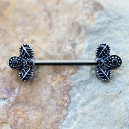 316L Stainless Steel Black Peacock Feather Nipple Bar - Fashion Hut Jewelry