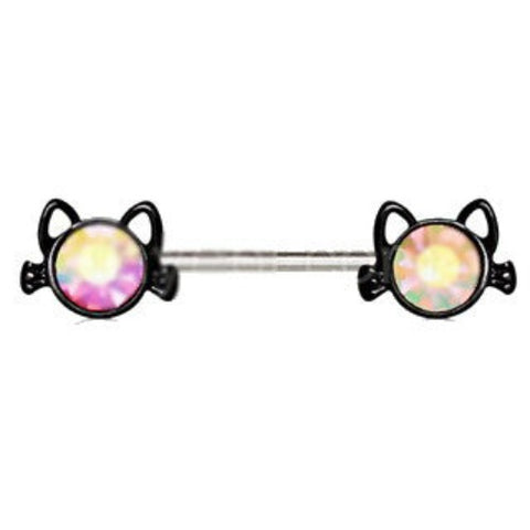 316L Stainless Steel Black Cat Nipple Bar - Fashion Hut Jewelry