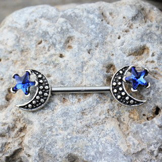 316L Stainless Steel Moon and Blue Star Nipple Bar - Fashion Hut Jewelry