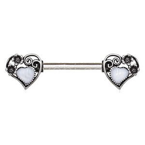 316L Stainless Steel Steampunk Heart Nipple Bar - Fashion Hut Jewelry