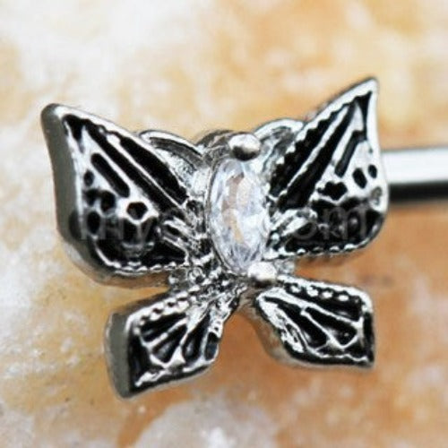 316L Stainless Steel Exotic Butterfly Nipple Bar - Fashion Hut Jewelry
