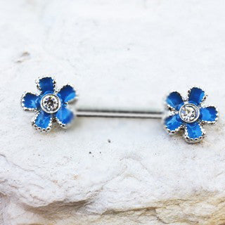 316L Stainless Steel Jeweled Teal Blue Flower Nipple Bar - Fashion Hut Jewelry