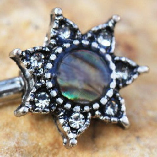316L Stainless Steel Abalone Shell Inlay Star Nipple Bar - Fashion Hut Jewelry