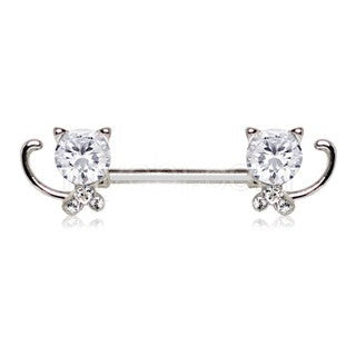 316L Stainless Steel Jeweled Kitty Cat Nipple Bar - Fashion Hut Jewelry