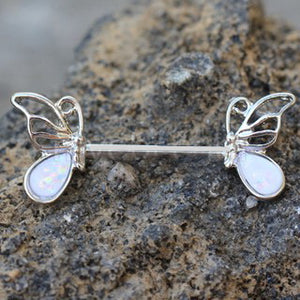 316L Stainless Steel Synthetic Opal Butterfly Nipple Bar - Fashion Hut Jewelry