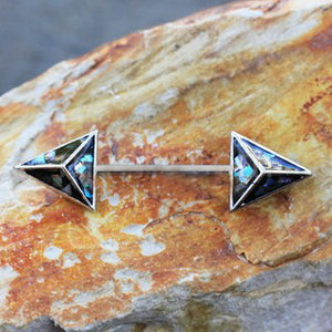 3D Triangle Abalone Nipple Bar - Fashion Hut Jewelry