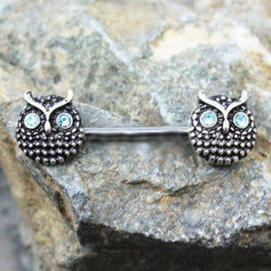 316L Stainless Steel Blue Eyed Owl Nipple Bar - Fashion Hut Jewelry